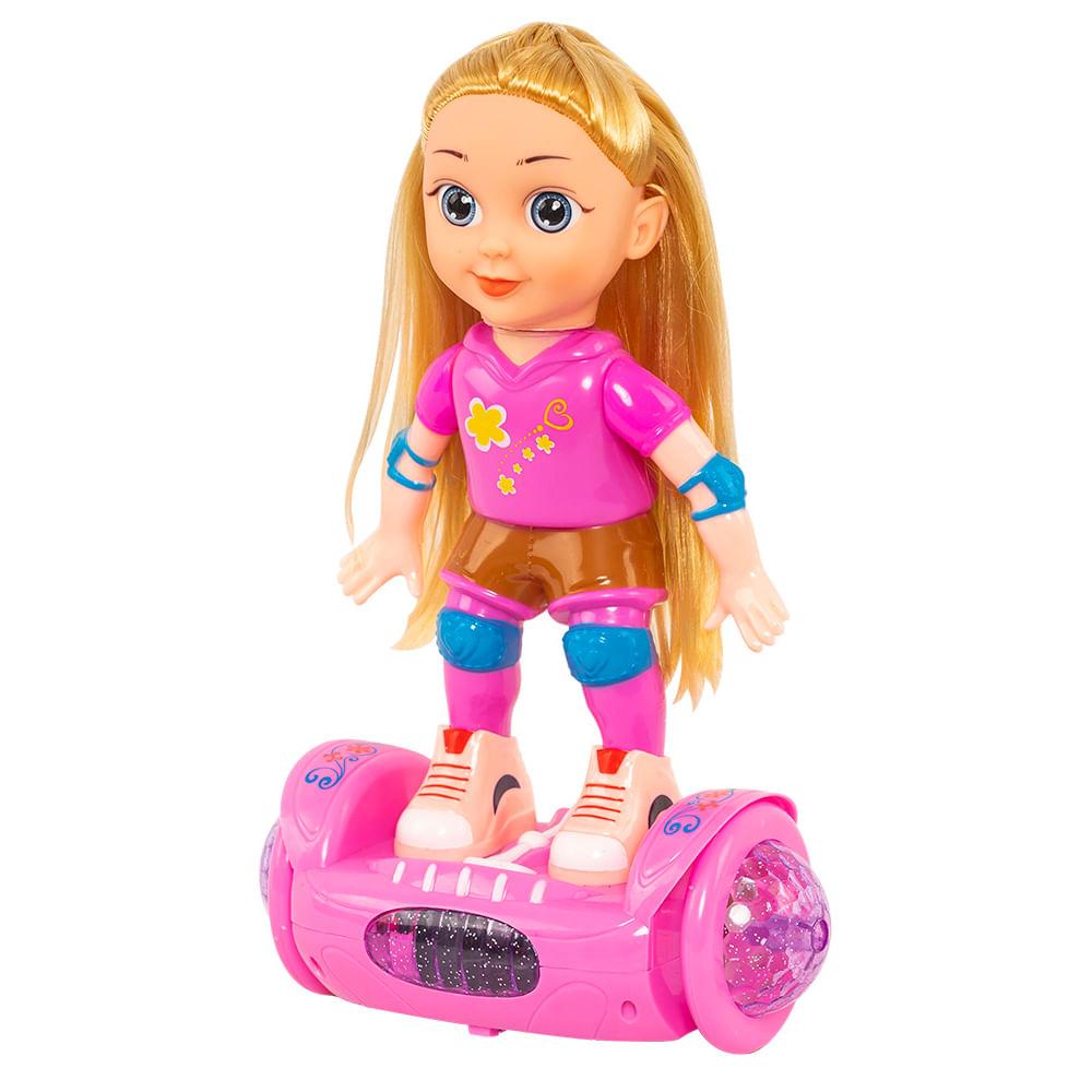 Muñeca-plastica-Happy-Toys-31-cm-con-patineta