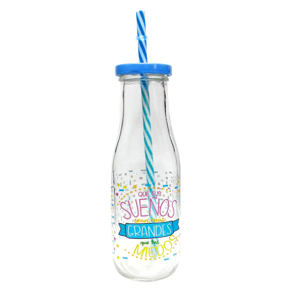 Botella-de-vidrio-HomeClub-400ml-con-sorbete-azul