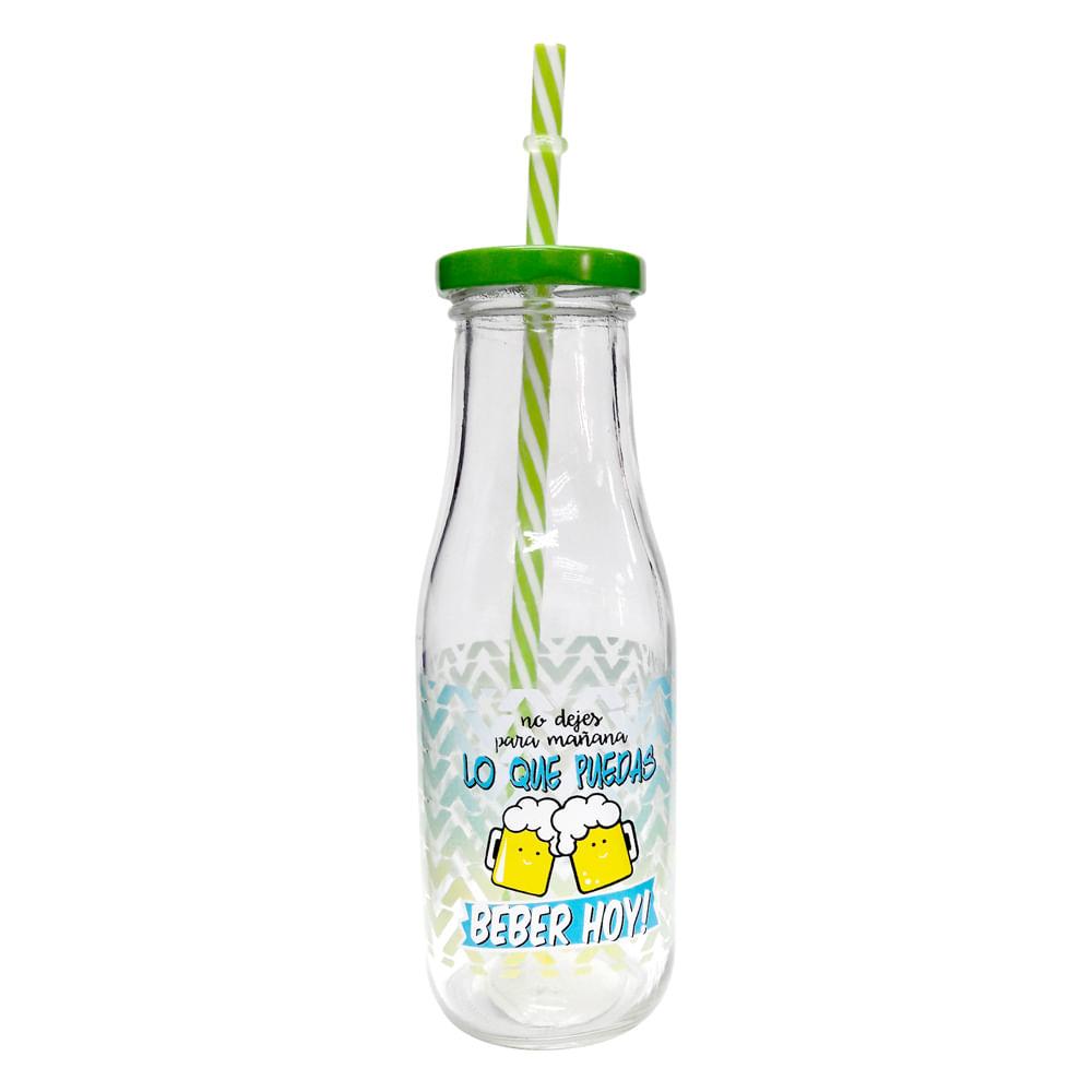 Botella-de-vidrio-HomeClub-400ml-con-sorbete-verde