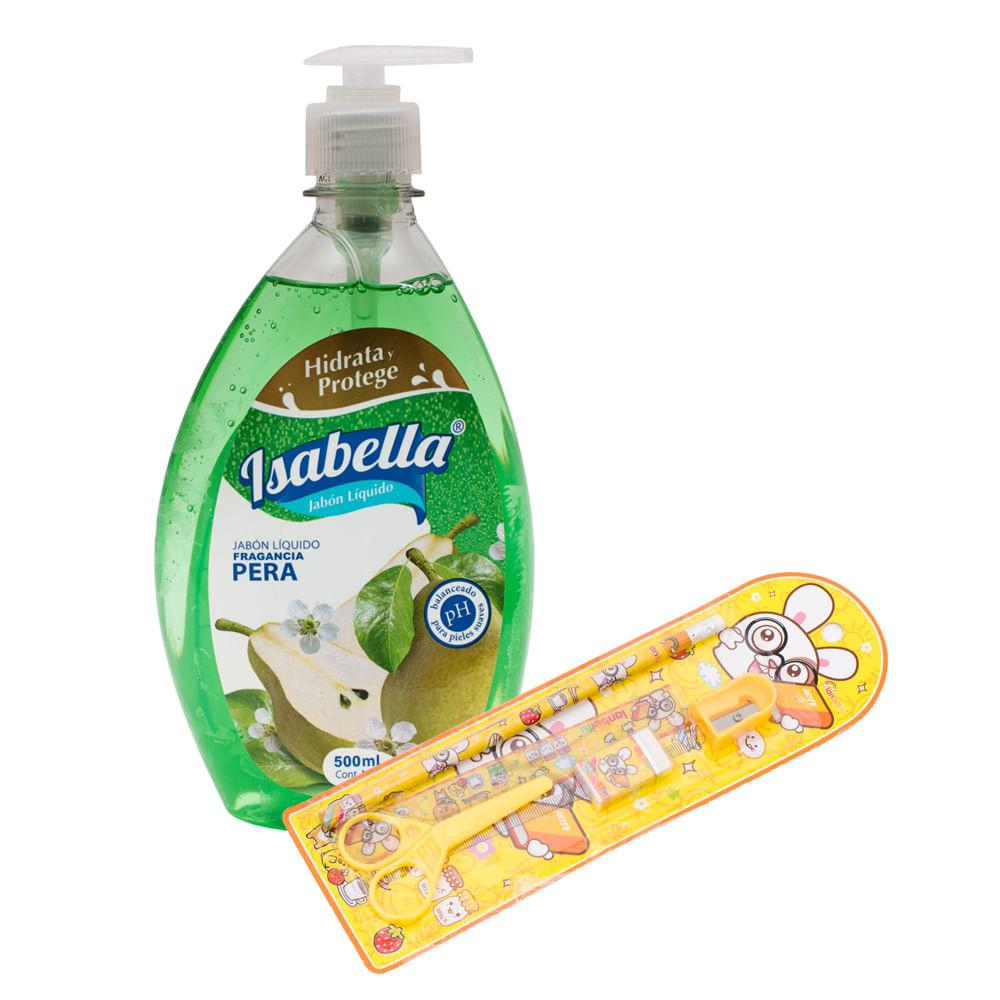 Jabon-liquido-Isabella-pera-500-ml-con-set-escolar