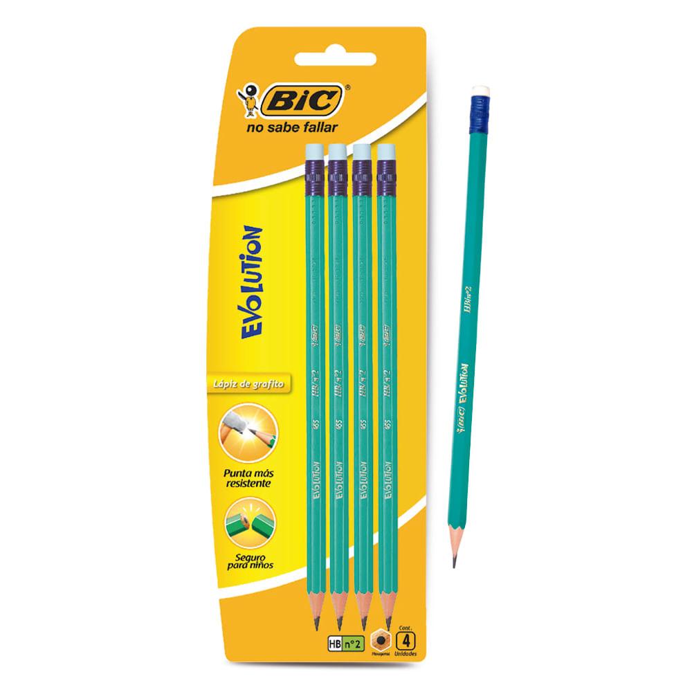 Lapiz-grafito-Bic-Evolution-x-4-uds-en-pouch