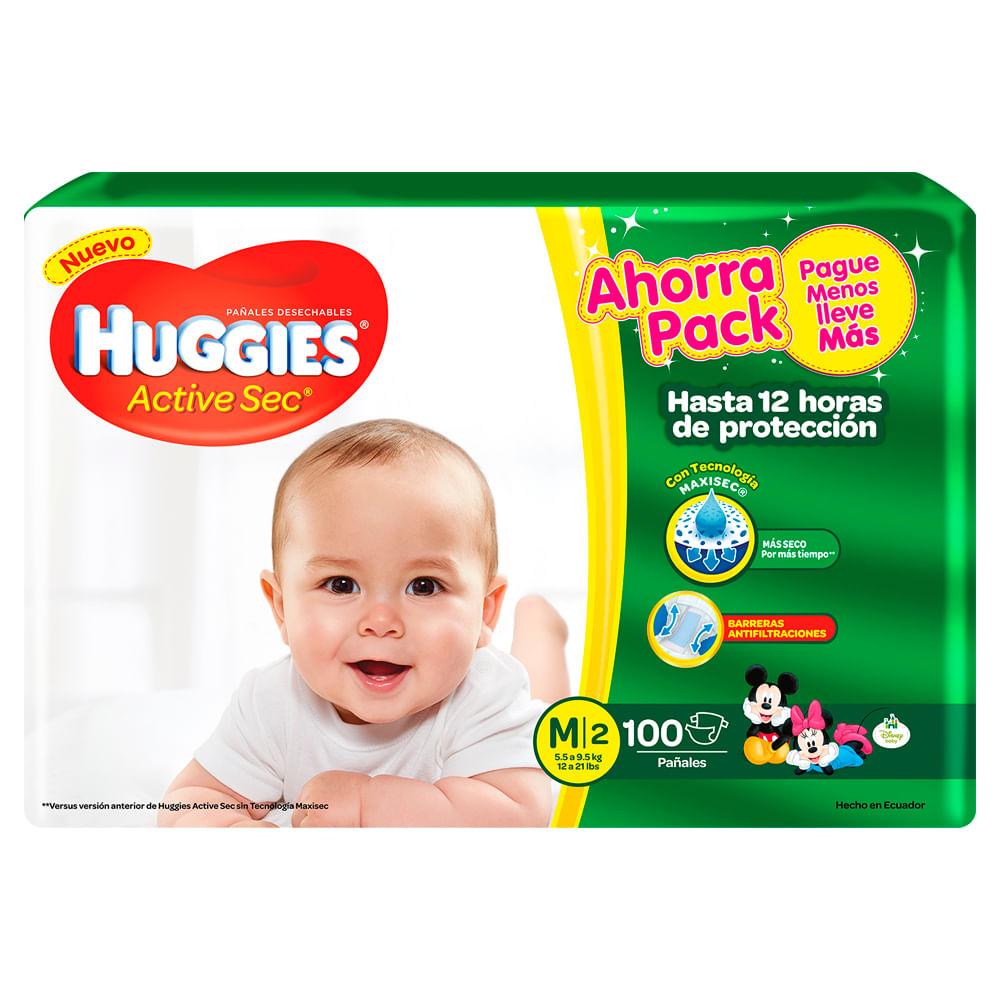Pañales-Huggies-Active-Sec-100-uds.-Talla-M