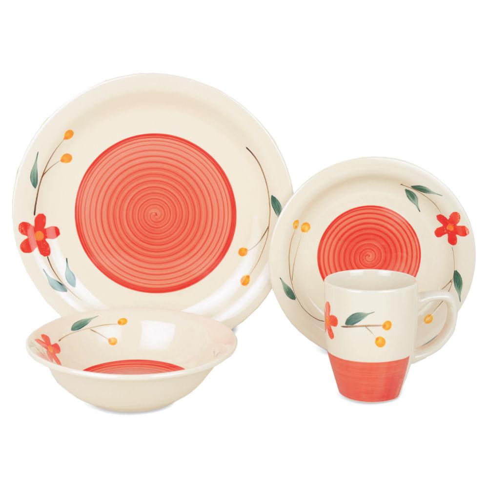 Vajilla-de-ceramica-Homeclub-16-piezas-Naranja