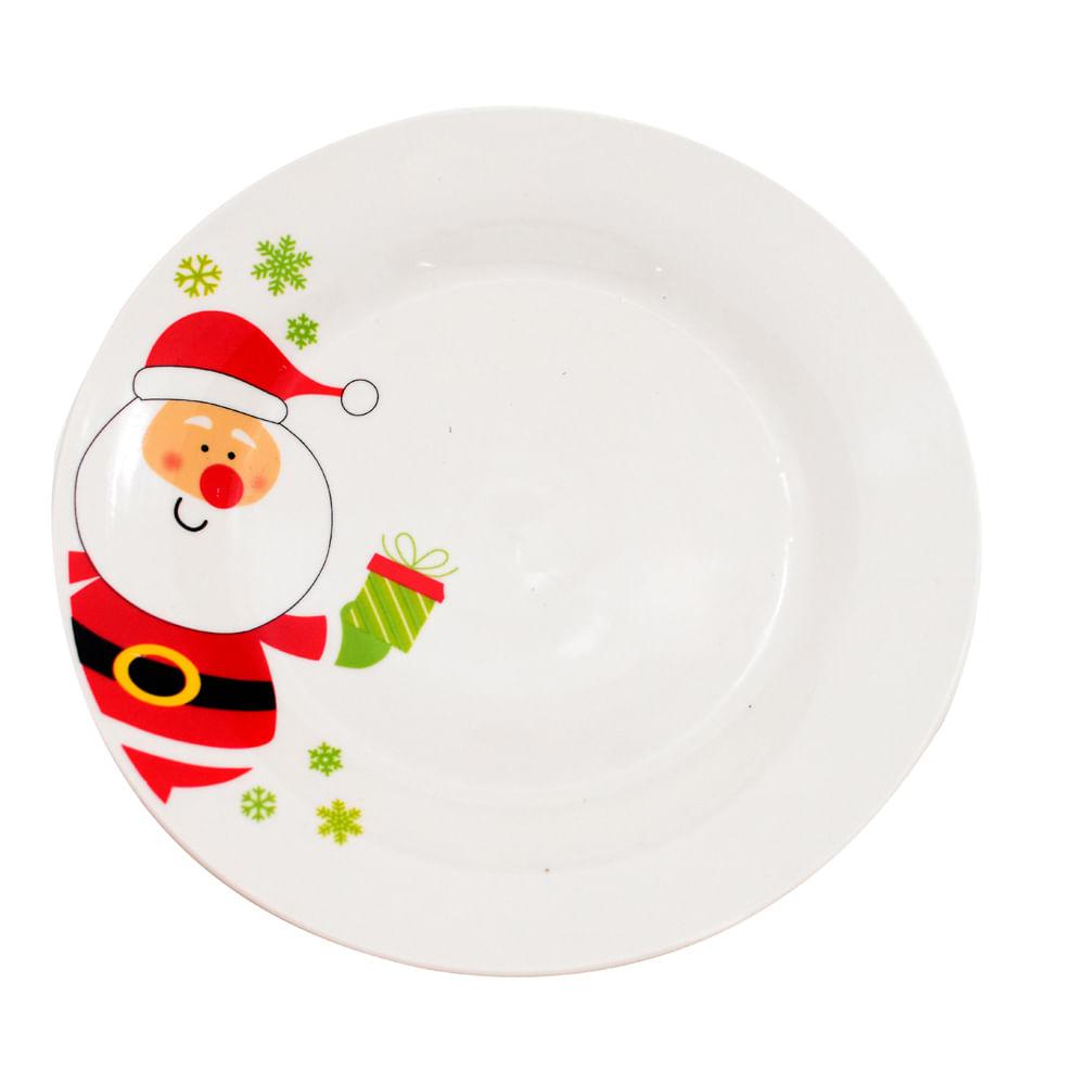 Plato-tendido-de-porcelana-Best-Xmas-26-CM-papa-noel