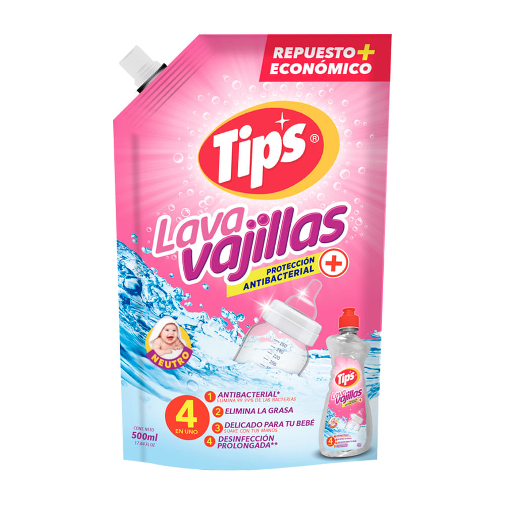 Lavavajilla-Liquido-Tips-Doypack-500-Ml-Neutro