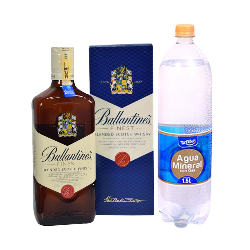 Whisky-Ballantines-Fitnest-750-ml---Agua-mineral-c-gas-Ta--Riko-1.5-L