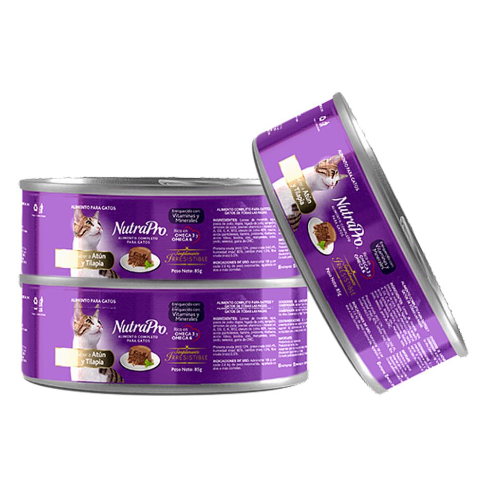 Alimento-humedo-para-gato-Nutrapro-85g-Atun-Tilapia-x3-unds