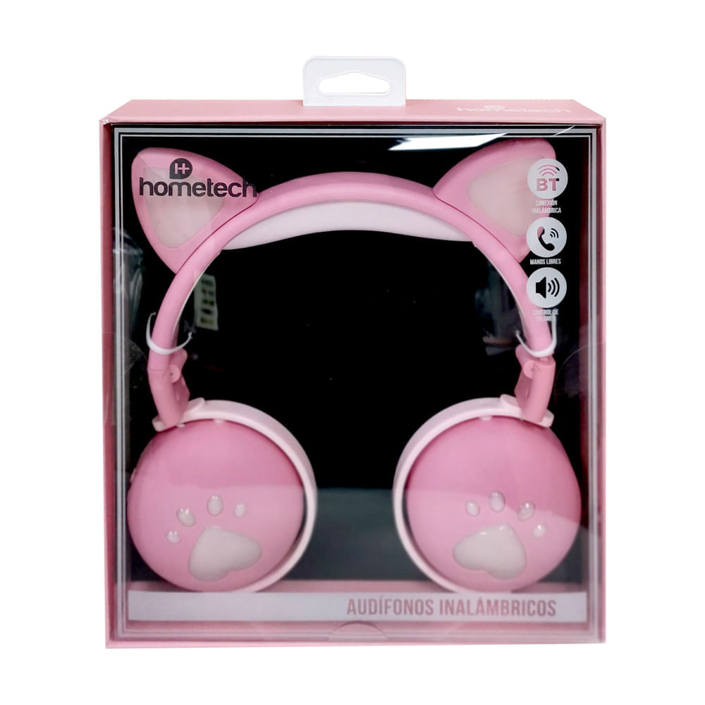 Audifonos-inalambricos-con-luz-hometech---Rosa