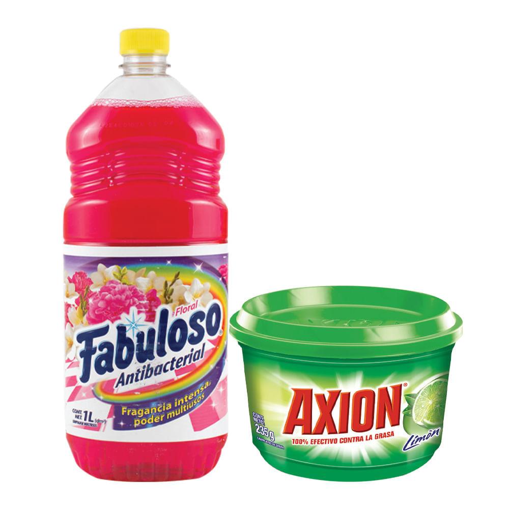 Combo-Desinfectante-Fabuloso-1-L-Floral---Lavavajilla-Axion-235g-Limon