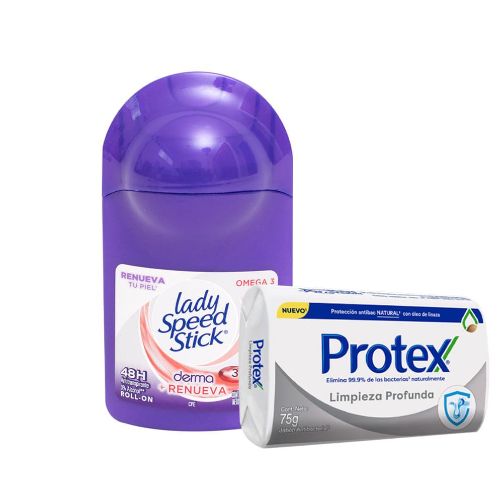 Desodorante-Lady-Speed-Stick-Roll-on-50-ml-Derma-Omega-3-GRATIS-Jabon-Protex-75-g-Limpieza-Profunda