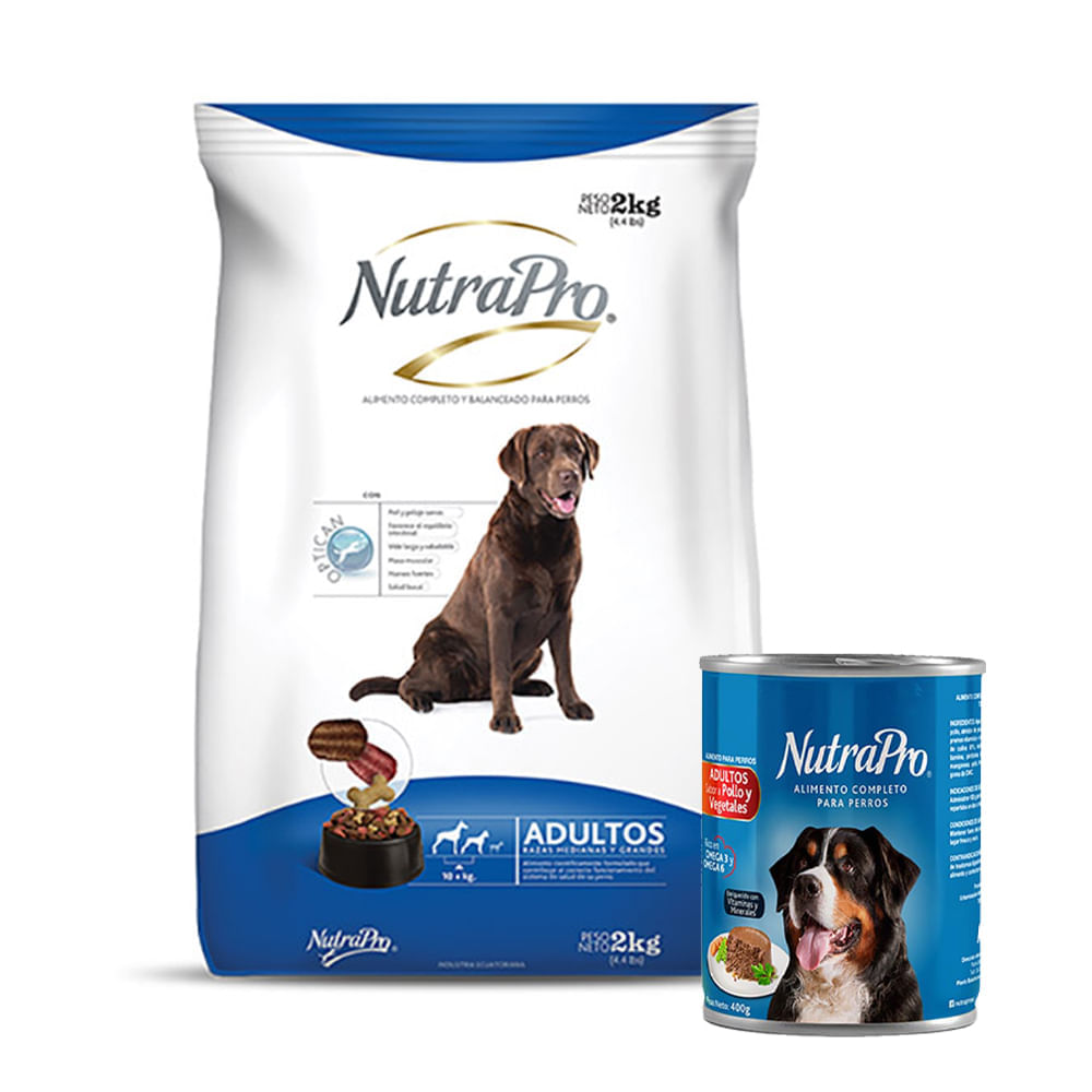 Combo-Alimento-para-perro-adulto-R-Med-Gra-Nutrapro-2Kg---Alimento-humedo-para-perro-Nutrapro-400-g-Pollo-Vegetales