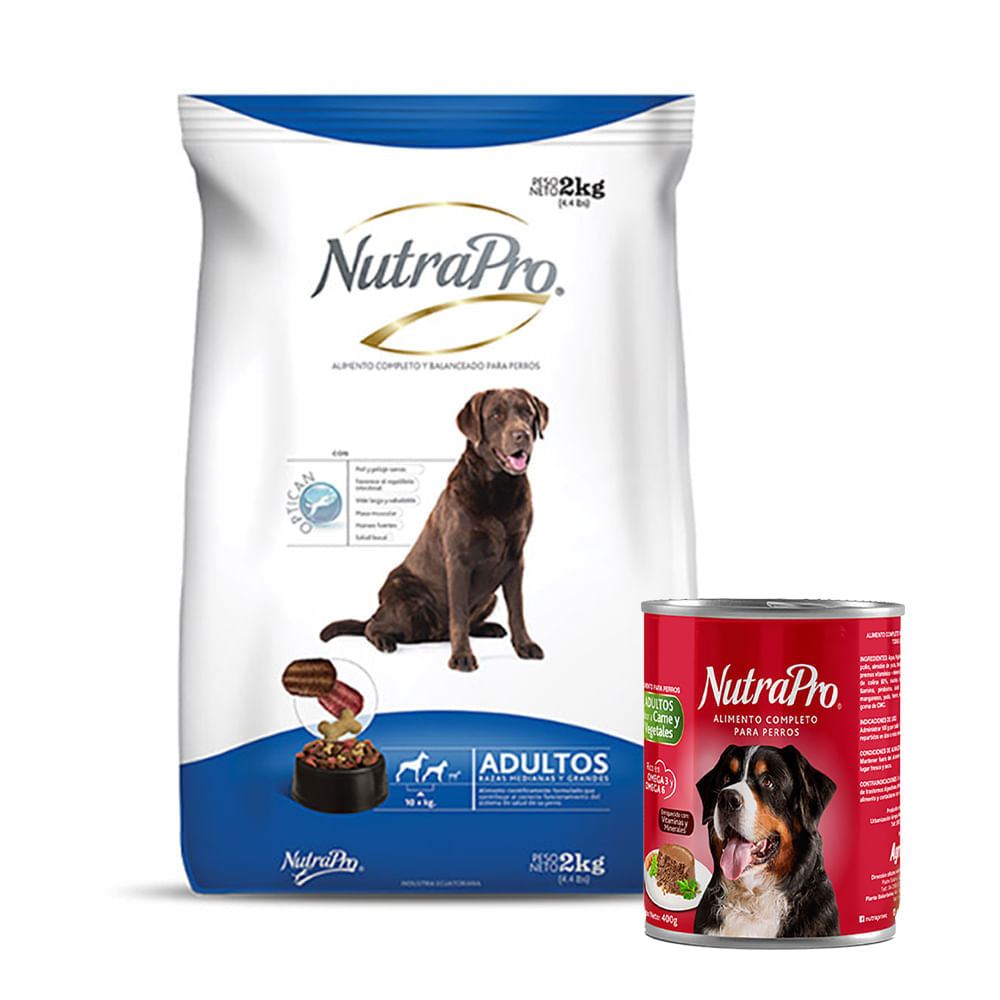 Combo-Alimento-para-perro-adulto-R-Med-Gra-Nutrapro-2Kg---Alimento-humedo-para-perro-Nutrapro-400-g-Carne-Vegetales