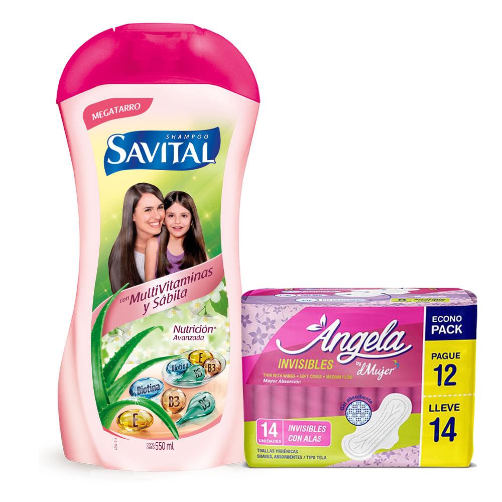 Combo-Shampoo-Savital-550-ml--Multivitaminas-y-Sabila---Toalla-Sanitaria-Angela-Invisibles-14-unds.